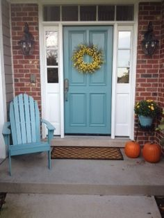 Blue Door On My Red Brick House. Yellow Forsythia Wreath Exactly What I  Want For My House.