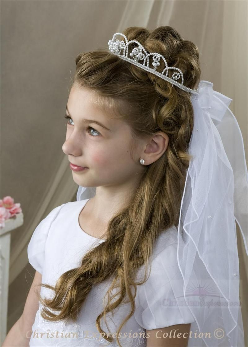 First Communion Crystal And Pearl Crown Veil Bridal Wedding Veils First Communion Veils First Communion Hairstyles Communion Hairstyles Communion Crown