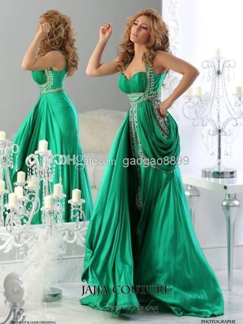 Wholesale Evening Dresses - Buy Jajja 2014 New India Style Green Sweetheart Farmal Evening Dresses Jewel Beads Pick Up Celebrity Gowns Dubai Abaya 2013 $189.0 | DHgate
