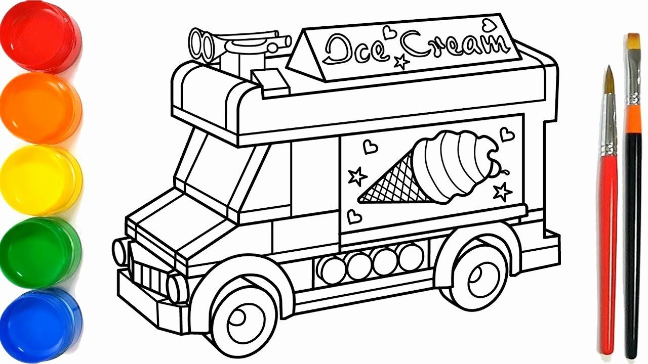 Ice Cream Truck Coloring Page Best Of Glitter Ice Cream Truck Coloring Pages For Kid Truk Es Krim Hala Truck Coloring Pages Ice Cream Truck Flag Coloring Pages