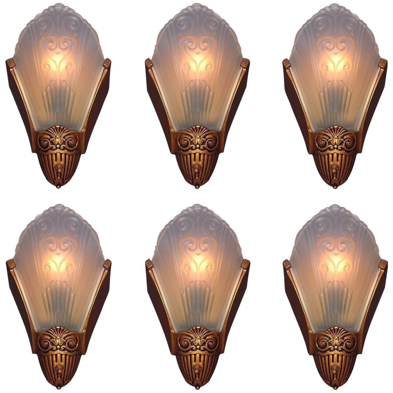1920s 1930s Slip Shade Wall Sconces By Virden Ada Vintage Wall Lights Sconces Wall Lights