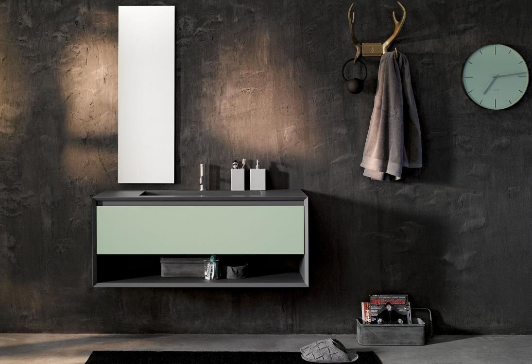 iks up laqué blanc mat façade hpl ossido plan vasque mineral ... - Stocco Arredo Bagno Outlet