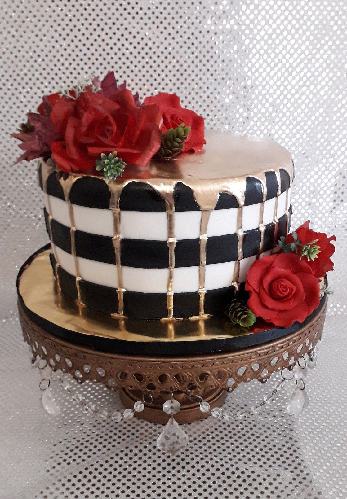 Black White Stripes Cake Red Roses Gold Dripping Striped