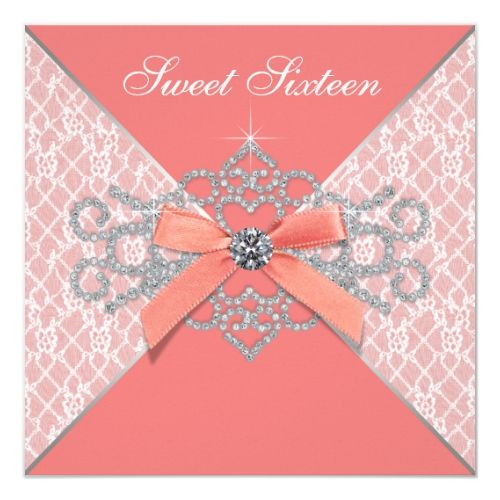 Coral Diamonds Coral Sweet 16 Birthday Party Invitation | Zazzle.com #sweet16birthdayparty