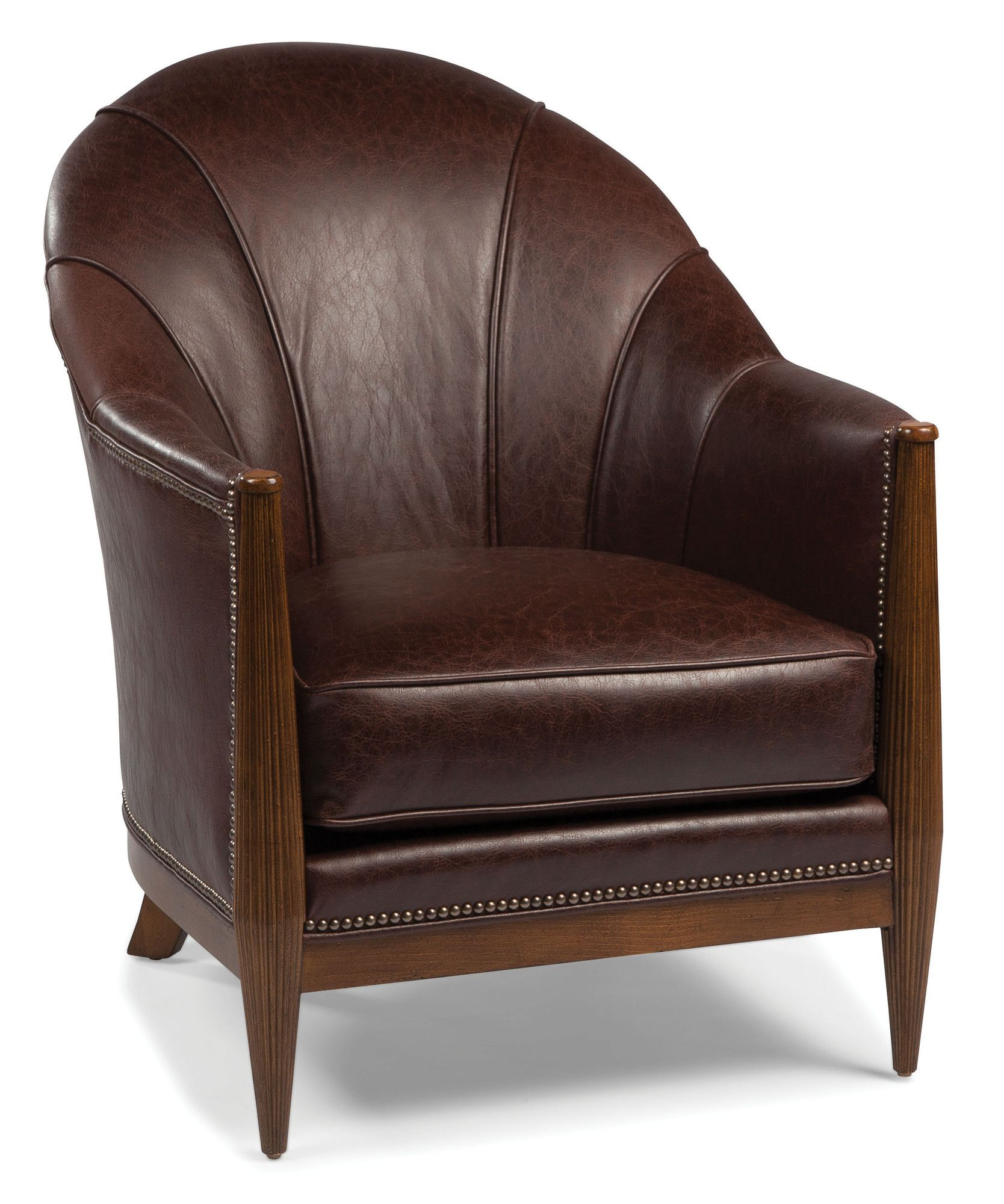 Fairfield Chair Round Back Wood Trimmed Lounge Chair