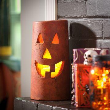 Terra Cotta Jack O Lantern Hurricane 11in Halloween Decorations Halloween Home Decor Halloween House