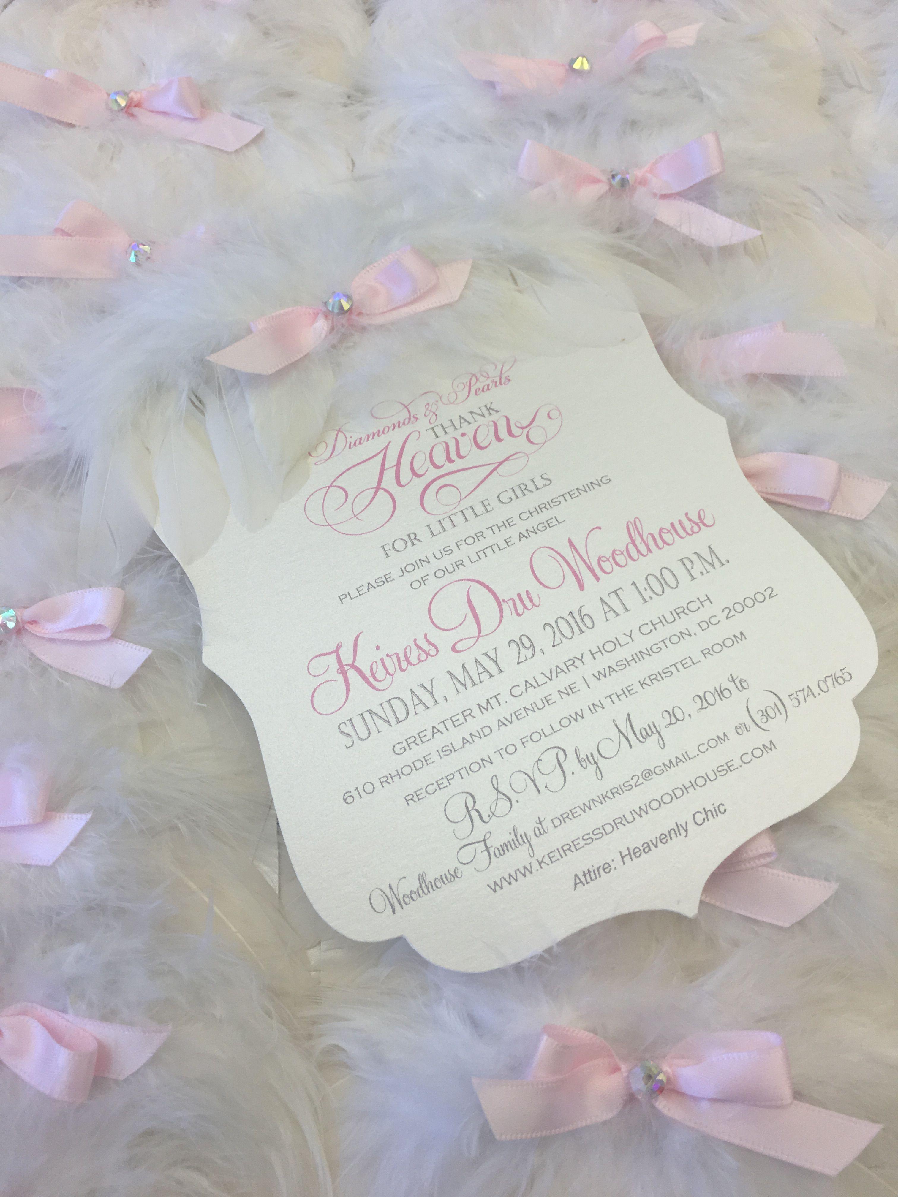Angel wing christening invitation xo embellishments Thank