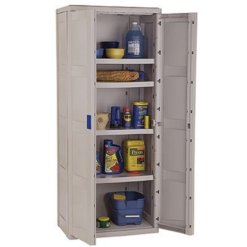 The Sterilite 4-Shelf Utility Storage Cabinet is an ideal product for storing items in your garage, basement, utility room or hobby room. Description from cabipol.net. I searched for this on bing.com/images