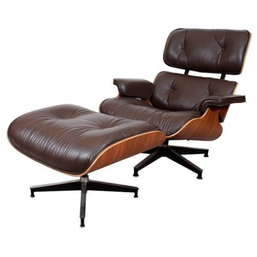 Palisander Wood Eames Style Lounge Chair Ottoman Premium Top Grain Brown  Leather