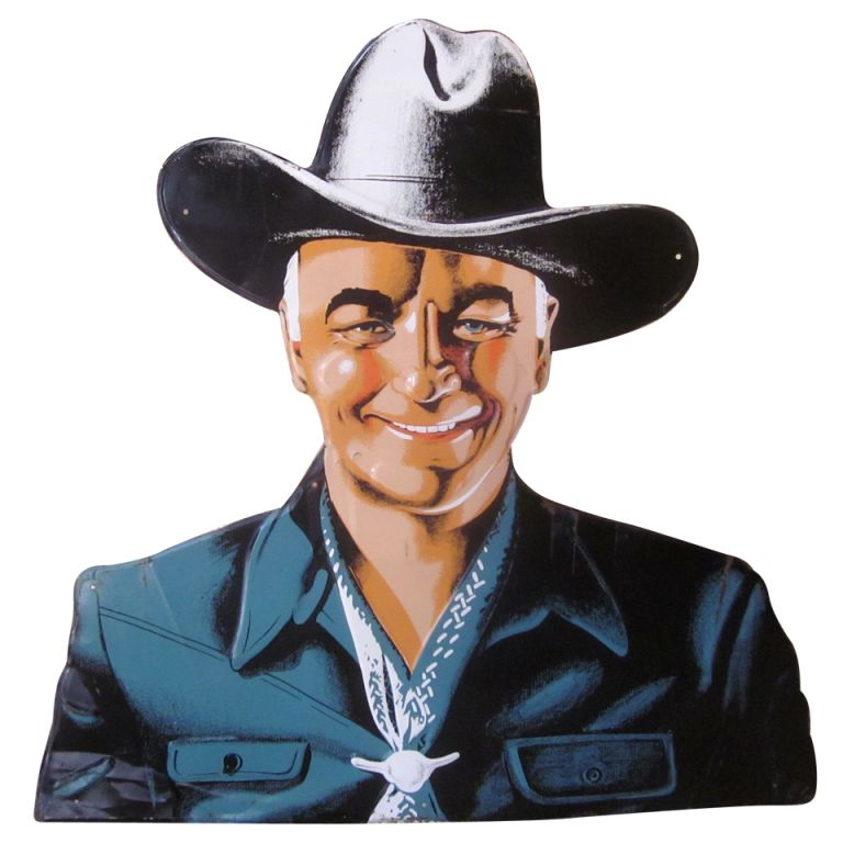 """William Boyd, more commonly known as Hopalong Cassidy, was one of the most popular and memorable cowboys of America's post war years. He also was a marketing maven, licensing his name and image to countless products. This oversized lithographed tin sign was known to be a display item for Bond Bread, one of the companies he lent his support to. His wholesome smile adorns this multiple colored sign, which is """"die cut"""" out"""