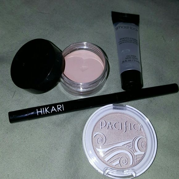 Makeup Bundle All new, never used.  Hikari Eyeliner - Silver (Orginal Price $13) Pacifa Eyeshadow- Ethereal Mica Eye Primer Smash Box Foundation Primer - Sample Size Smashbox Makeup Eyeshadow
