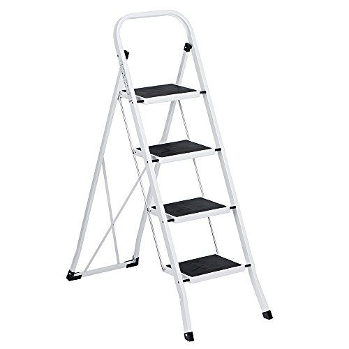 Descendants Costumes Delxo Folding 4 Step Ladder Ladder With Plastic Cushion Handgrip Antislip Sturdy And Wide Pedal 330 Step Ladders 4 Step Ladder Steel Stool