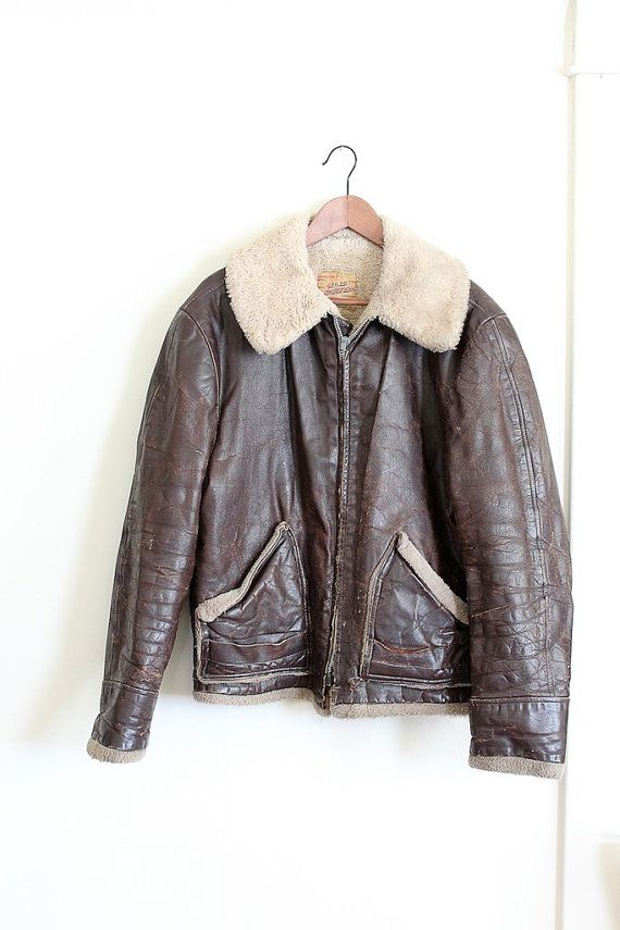 Rare Vintage 1950s Bomber Jacket Mens 50s Leather Motorcycle Jacket By Foxandseagull Leather Jacket Style Vintage Leather Jacket Leather Bomber Jacket