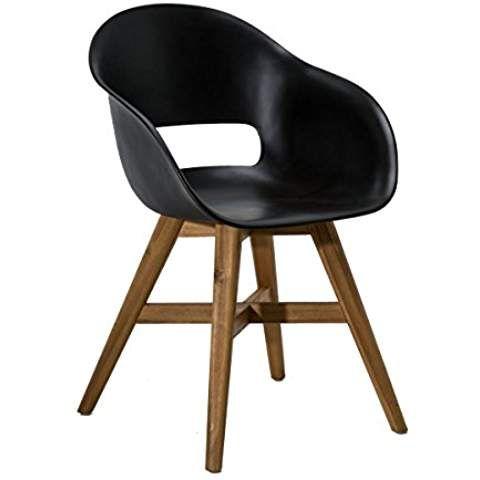 Gartenstuhl - Kunststoff Sitzschale Schwarz - Holz-Beine - wohnzimmer schwarz holz