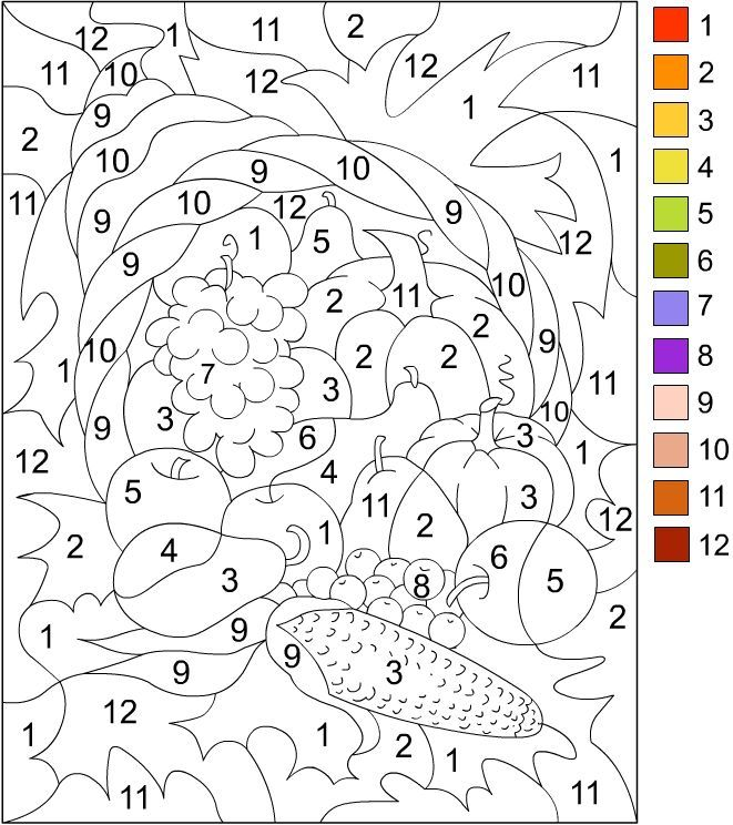 printable color by number for adults | color by number ... - Thanksgiving Coloring Worksheets