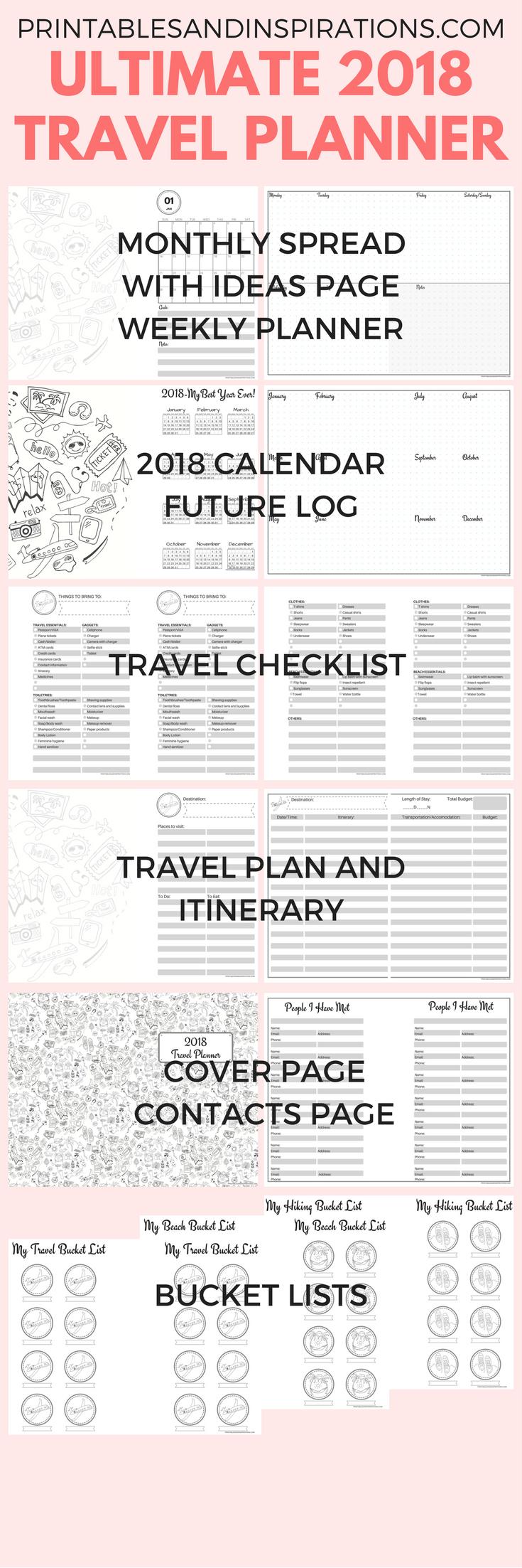 free printable 2018 calendar half size planner 2018 monthly planner printables weekly planner travel planner travel printables travel checklist