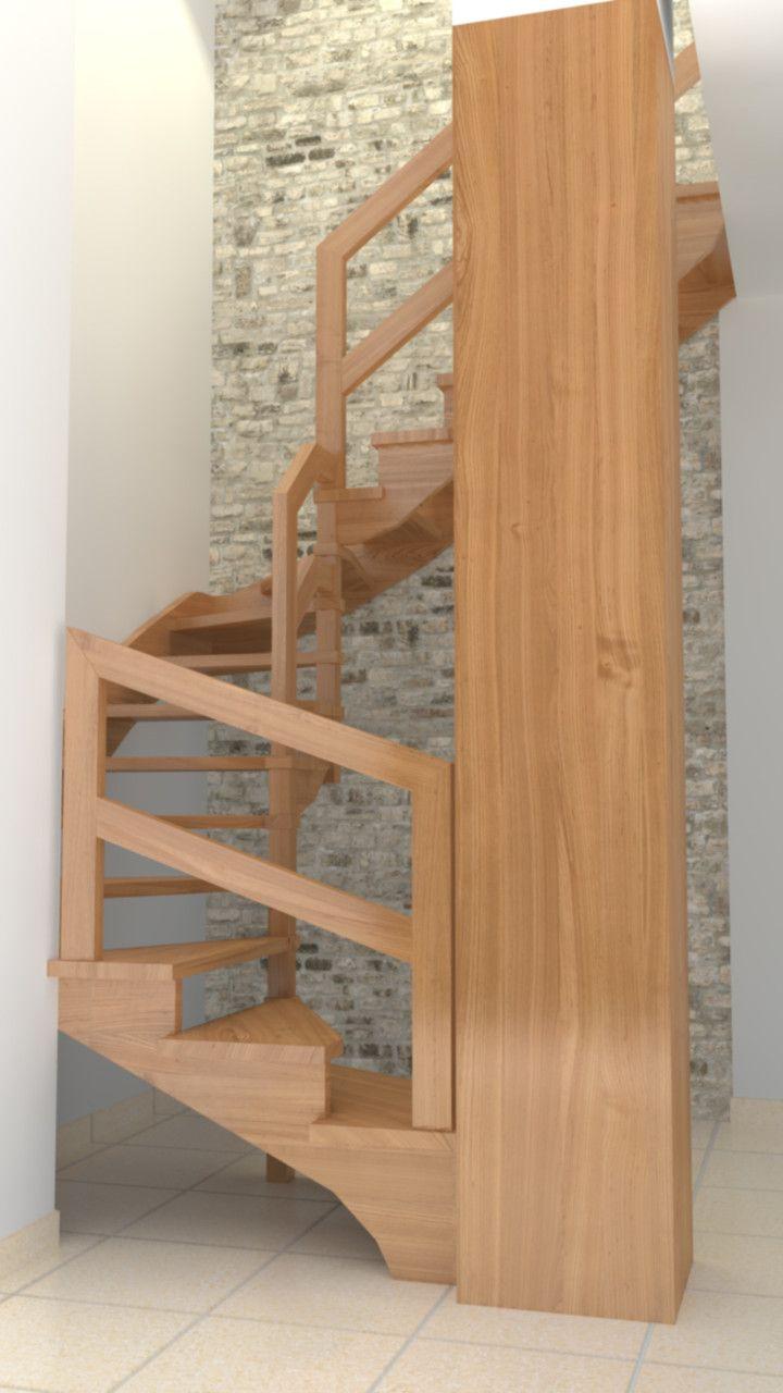 Escalera en madera de roble escaleras en 2019 - Escalera caracol de madera ...