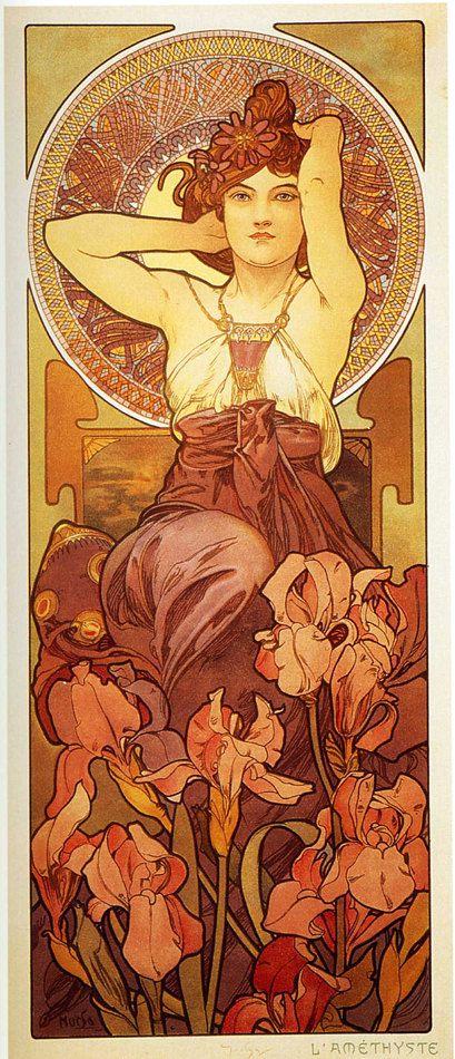 Amatista por Alphonse Mucha cartel grande 8 x 20 reproducción 1900 imprimir la serie de piedras preciosas