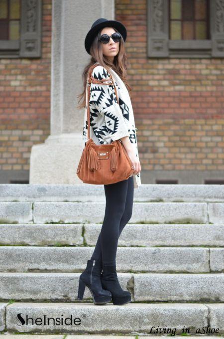 Apricot Batwing Long Sleeve Geometric Cardigan Sweater