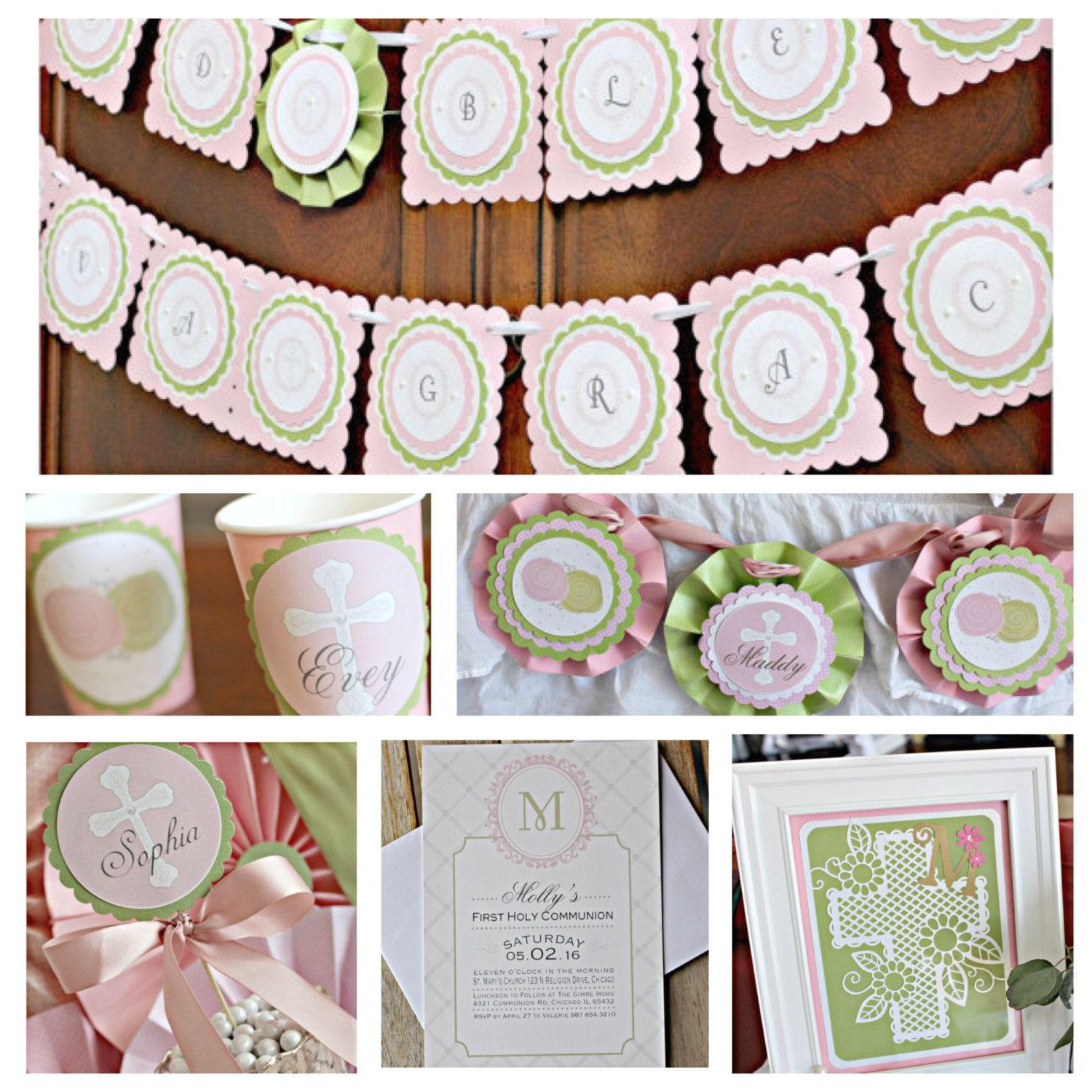 First Communion/ Baptism party decorations. Boutique 6 piece ...