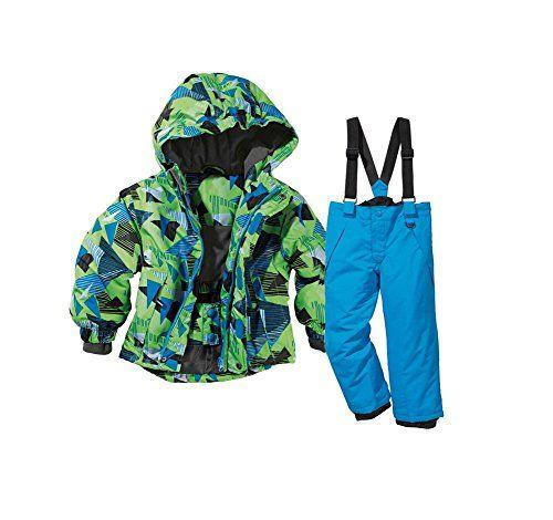 #Kleinkinder Skianzug 2tlg Skianzug Jungen Schneeanzug Winteranzug Wind- und wasserdichtes (Jungen Grün / Blau, 86-92), 04406315545001