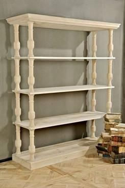 Belgian Bookshelf with Four Shelves and Carved Wood