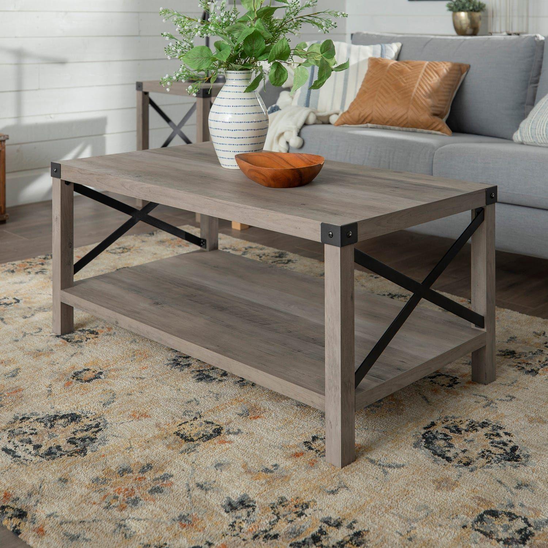 Modern Farmhouse White Oak Coffee Table Decor, Coffee