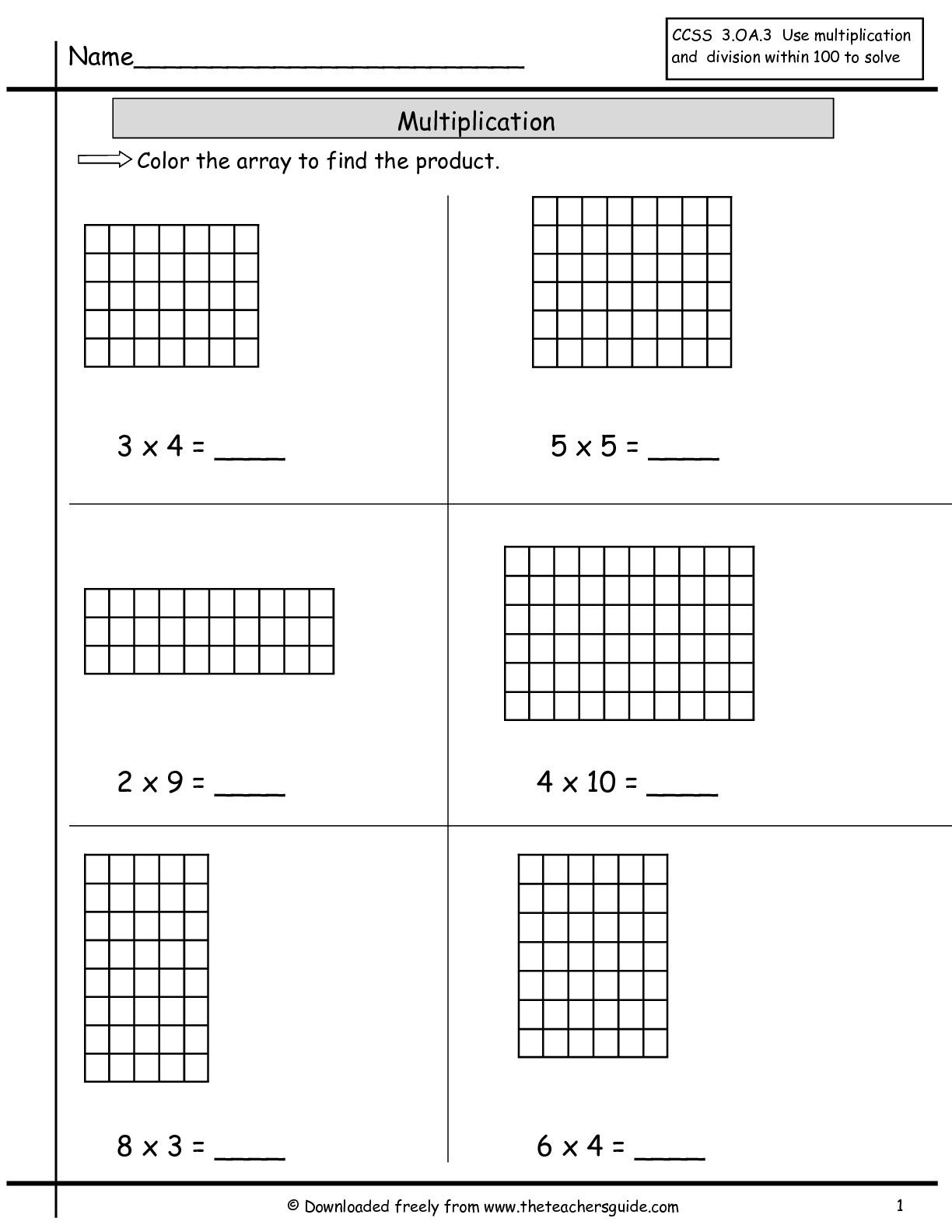 Multiplication Array Worksheets From The Teacher S Guide Multiplication Arrays Array Worksheets Math Worksheets