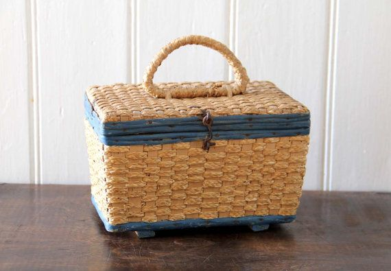 Vintage Wood and Straw Lunch Box by tentvintage on Etsy, $22.00