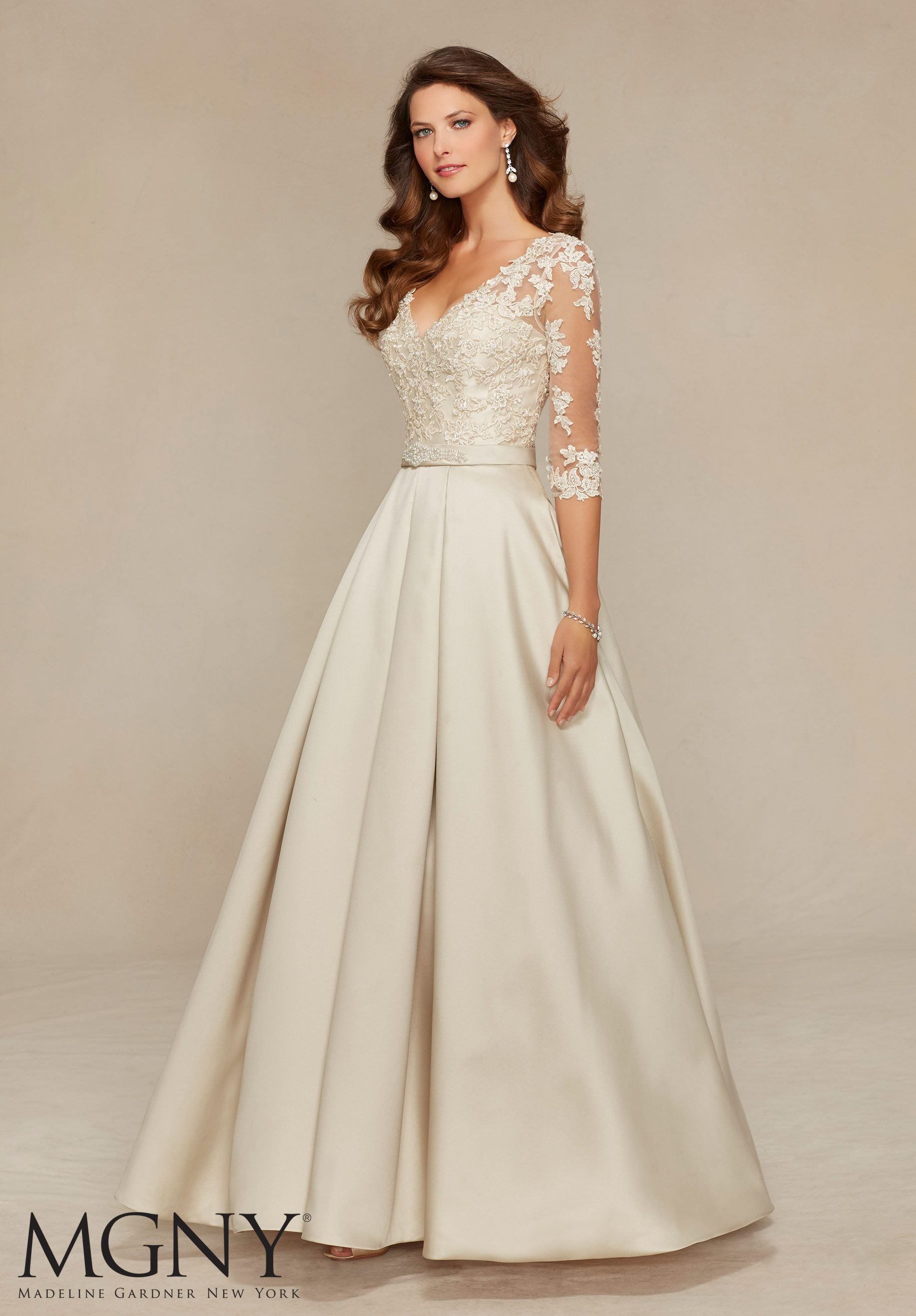 Evening Gowns and Mother of the Bride Dresses by Morilee. Beaded Lace  Appliqués on Larissa Satin Evening Gown 9bfe880429