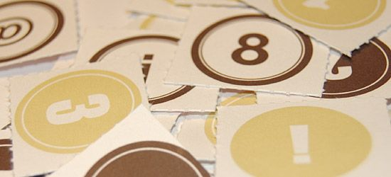 Numbers label brown / green
