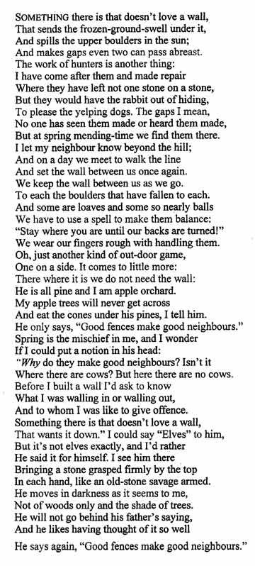 what is mending wall by robert frost about