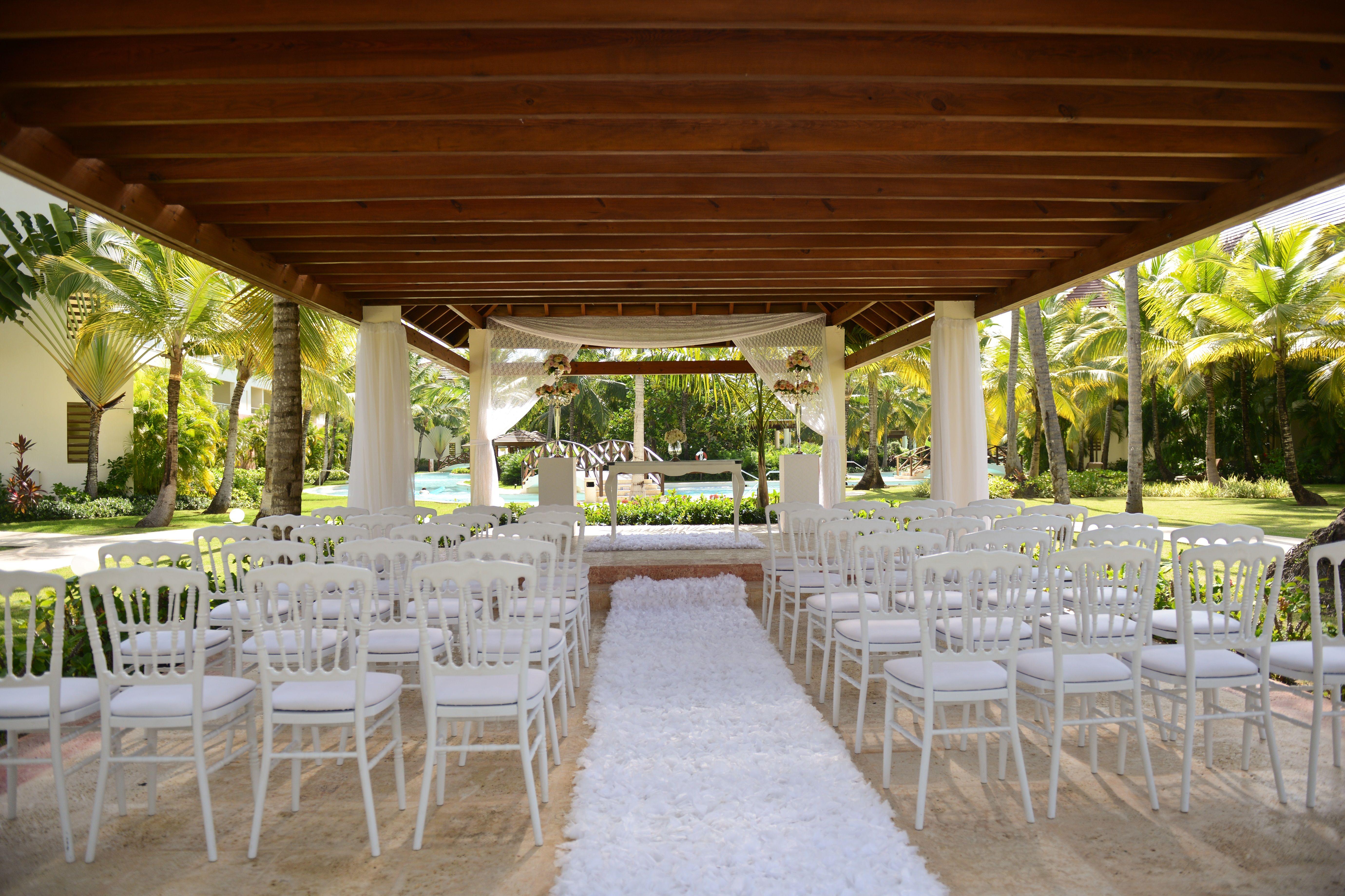 White Ceremony Set Up At The Garden Gazebo Here At Now Larimar Punta Cana Gardenwedding Destinationweddi Now Larimar Punta Cana Now Larimar Punta Cana Beach