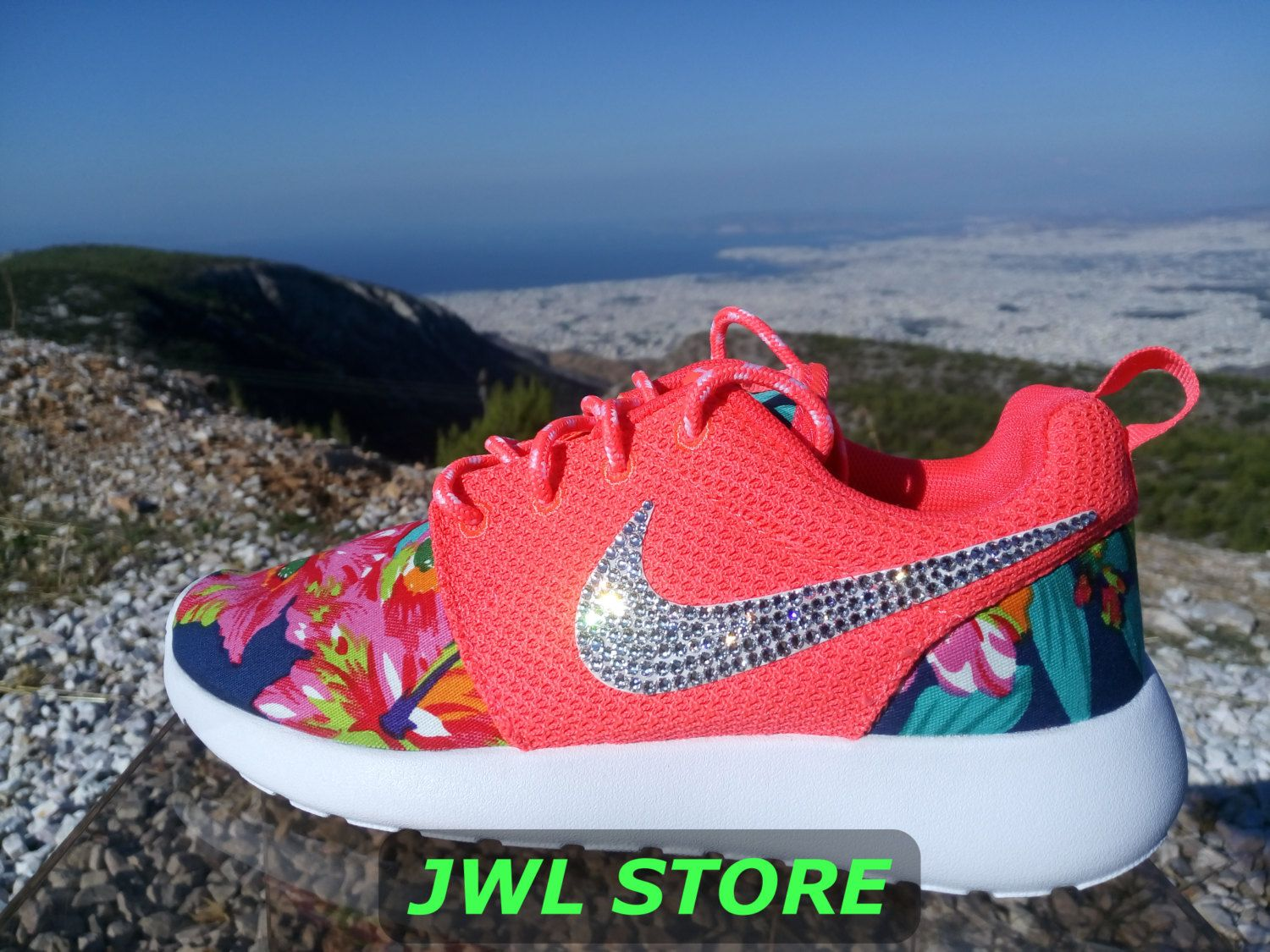 wmns custom nike roshe run shoes with fabric floral coral color sneakers  blinged with swarovski rhinestones 4299df8d7c