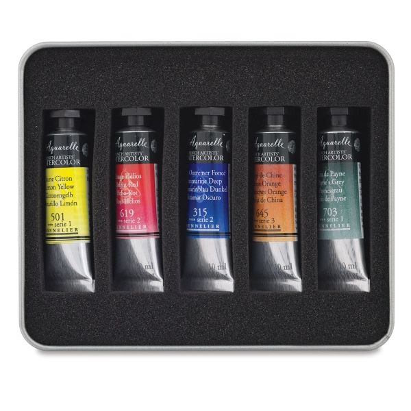 Portable Watercolor Pigments Set With Water Brush Penartzsupplies