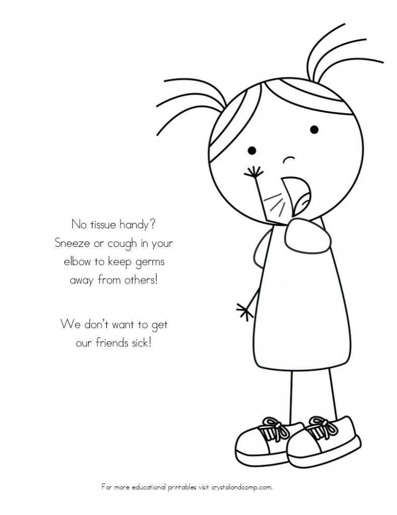 Printable coloring pages healthy habits - No More Spreading Germs Coloring Pages For Kids