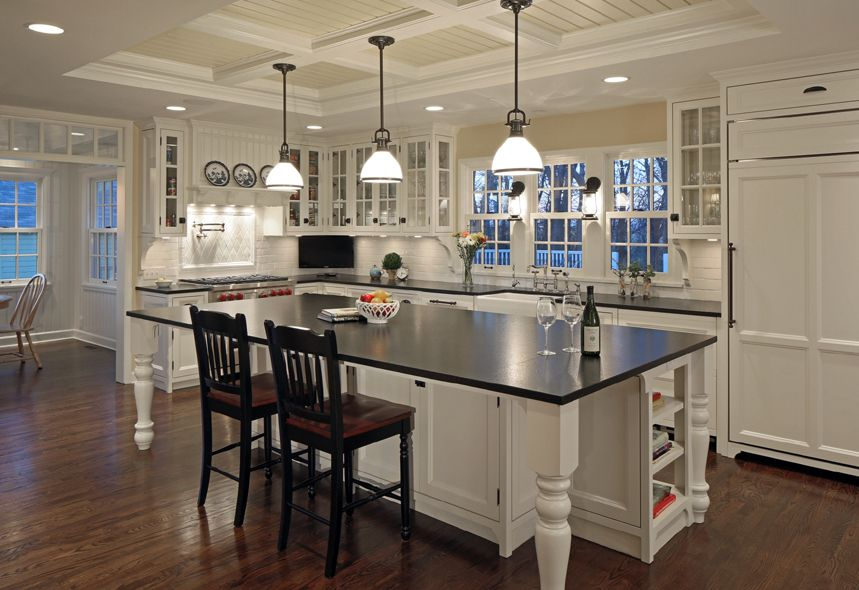Farmhouse Style Kitchen With Glass Door Display Cabinets Coffered