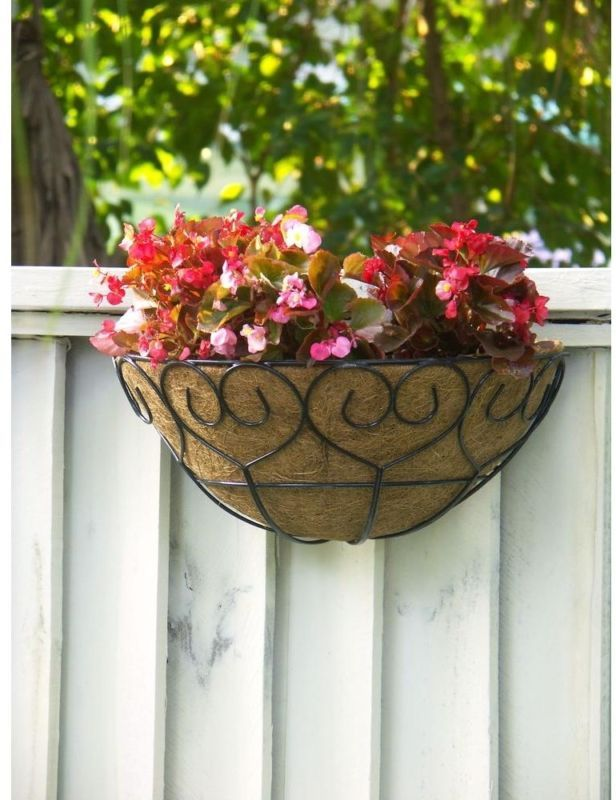 2 Pack Half Basket Planters Steel Metal Wall Fence Railing Mount Garden Flowers Garden Wall Decor Basket Planters Hanging Flower Pots