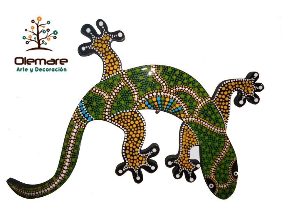 Salamandra Decorativa Elaborada Por Olemare Arte Y Decoracion Gatos En Puntillismo Lagartijas Pinturas