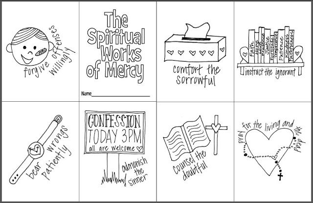 The Spiritual Works of Mercy Mini Coloring Book- Free printable for ...