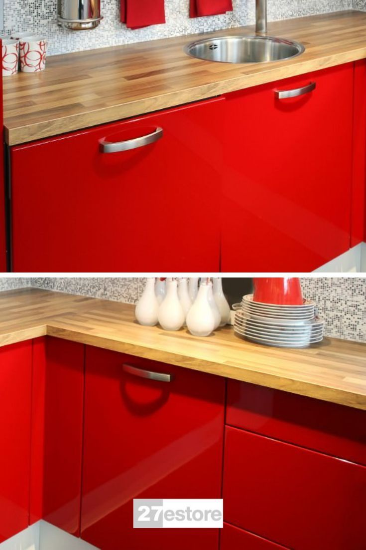 High Gloss Polyester Red In 2020 Red Kitchen Cabinets Gloss Kitchen Cabinets Red Cabinets