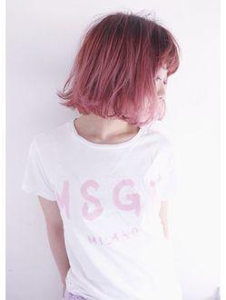 Messy Hot Pink Sombre Bob Koti By Brooch ヘアカラー ヘア