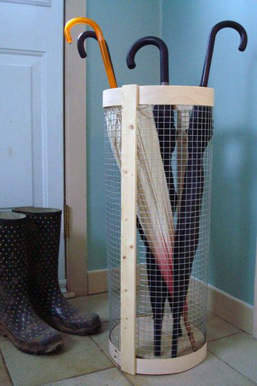 Rustic DIY umbrella stand