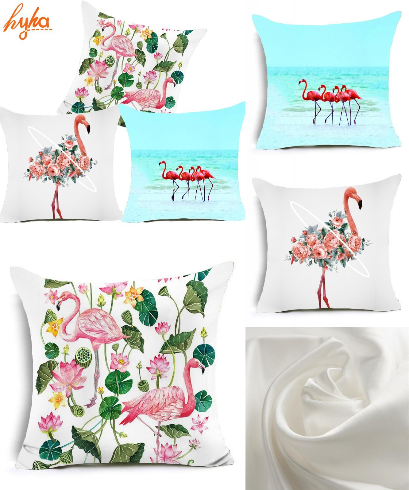 [Visit to Buy] Hyha Flamingo Polyester Cushion Cover Animal Flower Flamingo Home Decorative Pillow Cover for Sofa Car Europe Nordic Home Decor #Advertisement