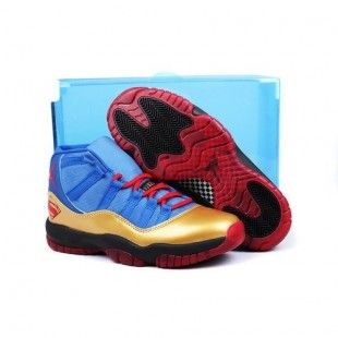 b9bc346c11ca Air Jordan 11 Low Knicks Custom Retro Men Shoes University Blue Gold ...