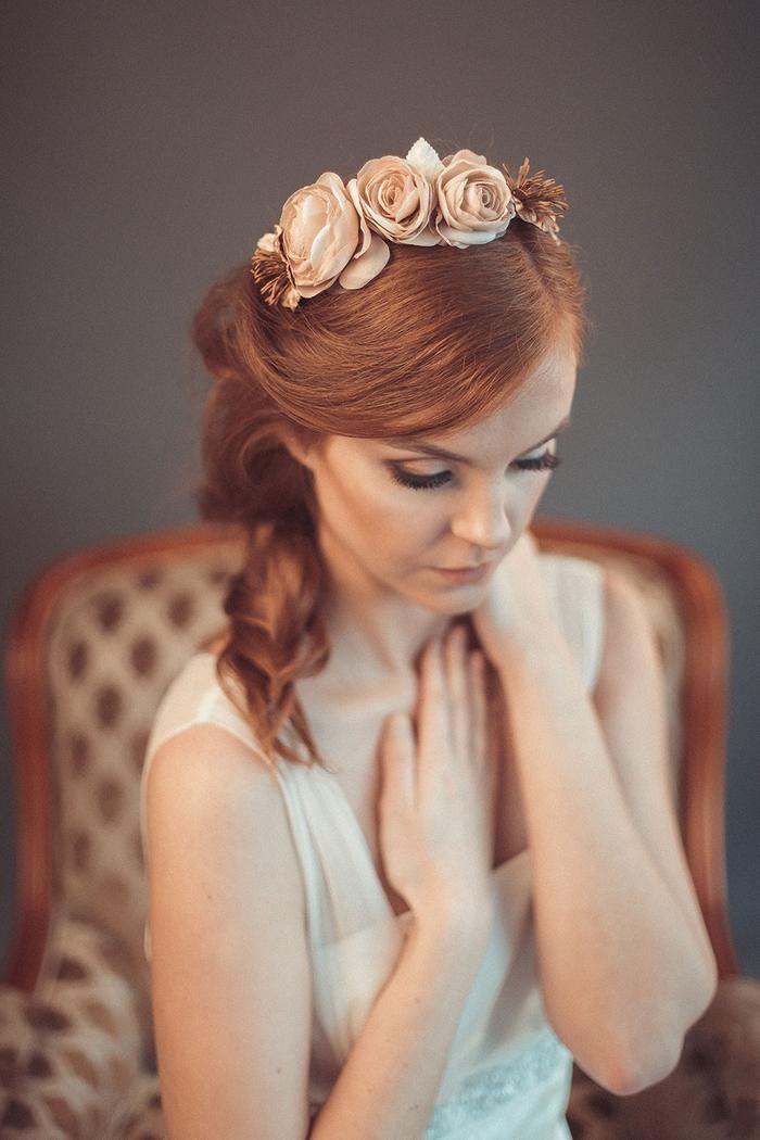Beige floral crown