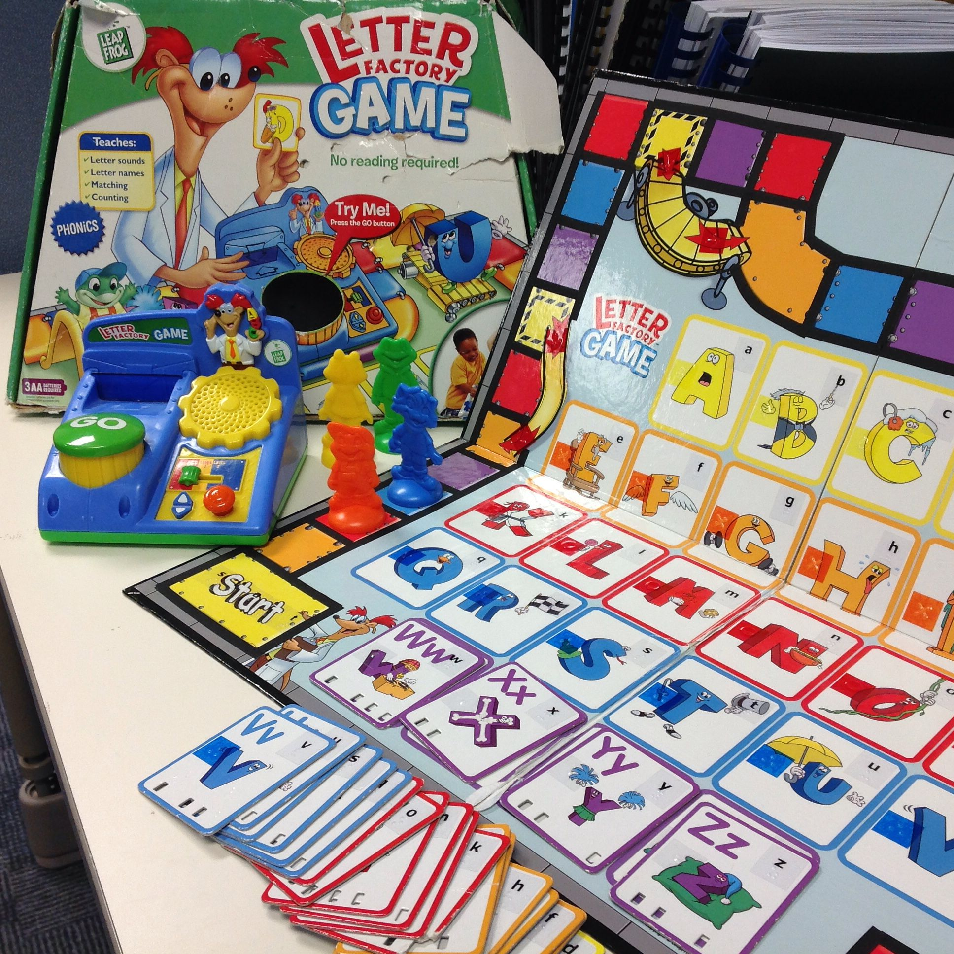 Letter Factory Game from Leap Frog. Very easy to adapt in Braille