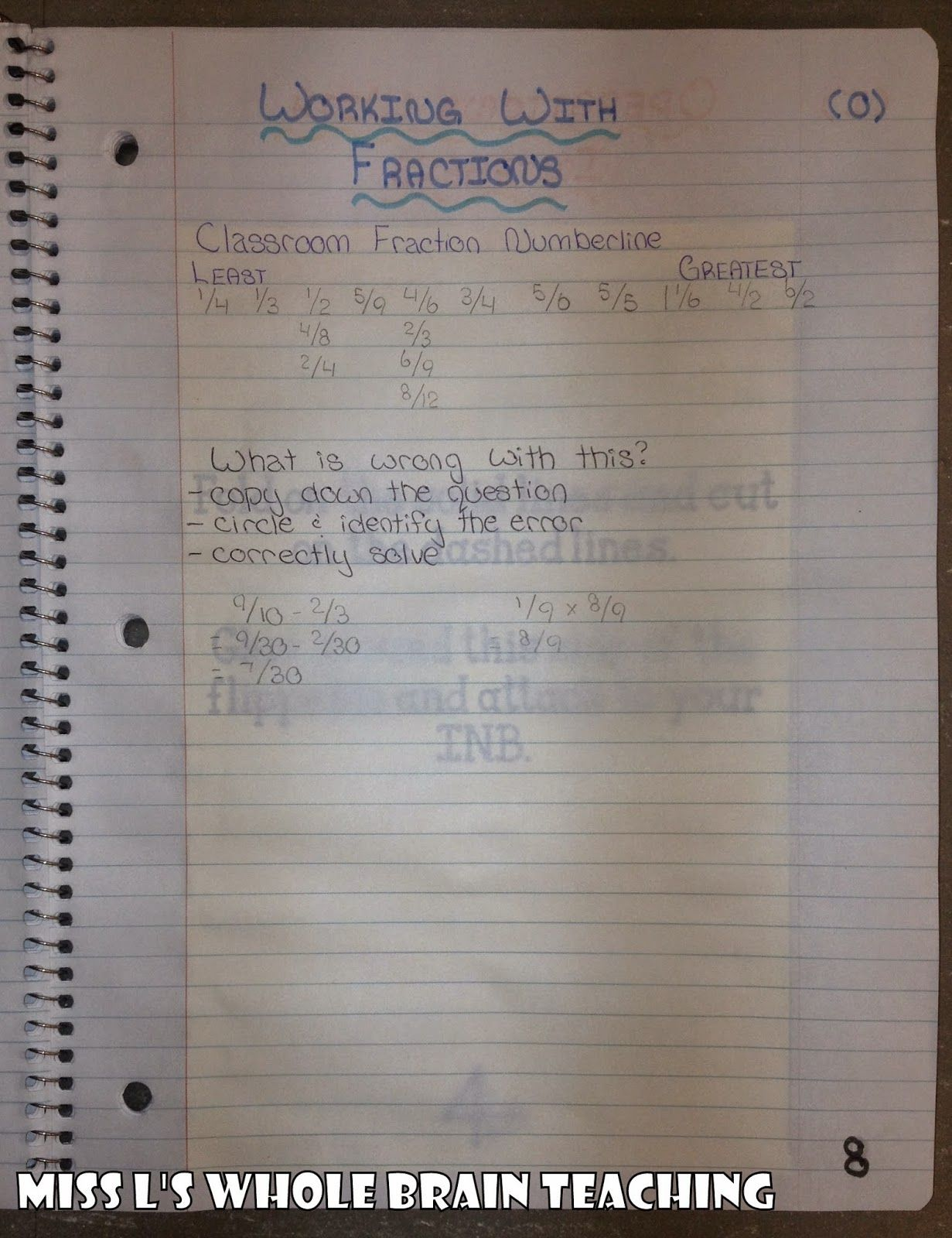 Interactive Notebook - Grade 8 Math - Output activity