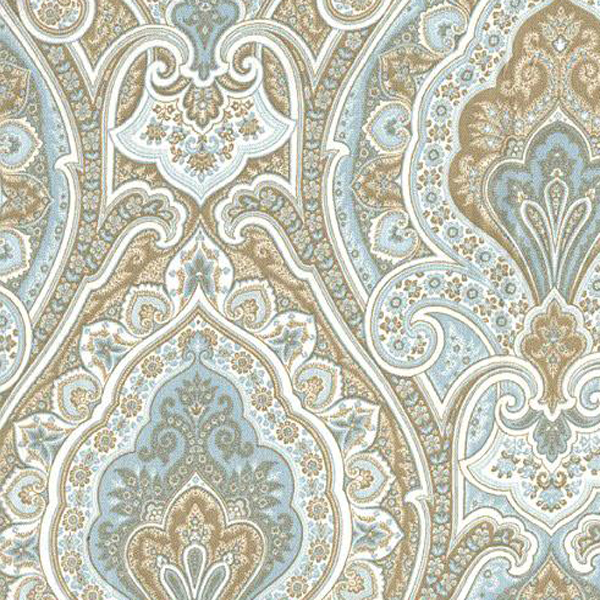 Vassar Horizon Blue Floral Paisley Cotton Drapery Fabric - SW51021 ...