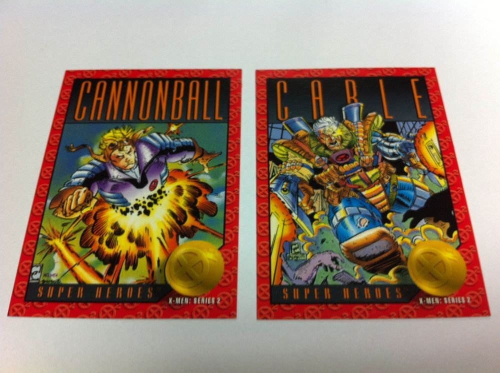 Skybox Marvel X Men 5 6 Xavier s Files Cannonball & Carle 1993 Trading Cards